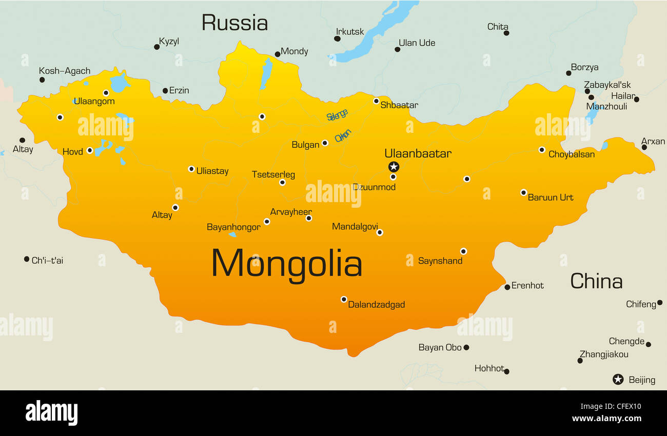 Vector Map Of Mongolia Country Stock Photo Royalty Free Image - Map of mongolia