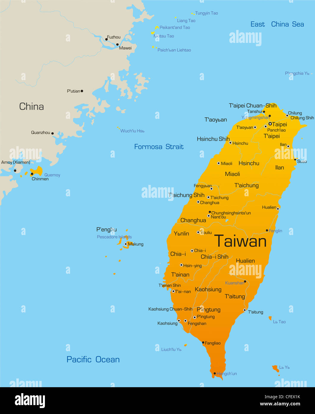 Vector Map Of Taiwan Country Stock Photo Royalty Free Image - Map of taiwan