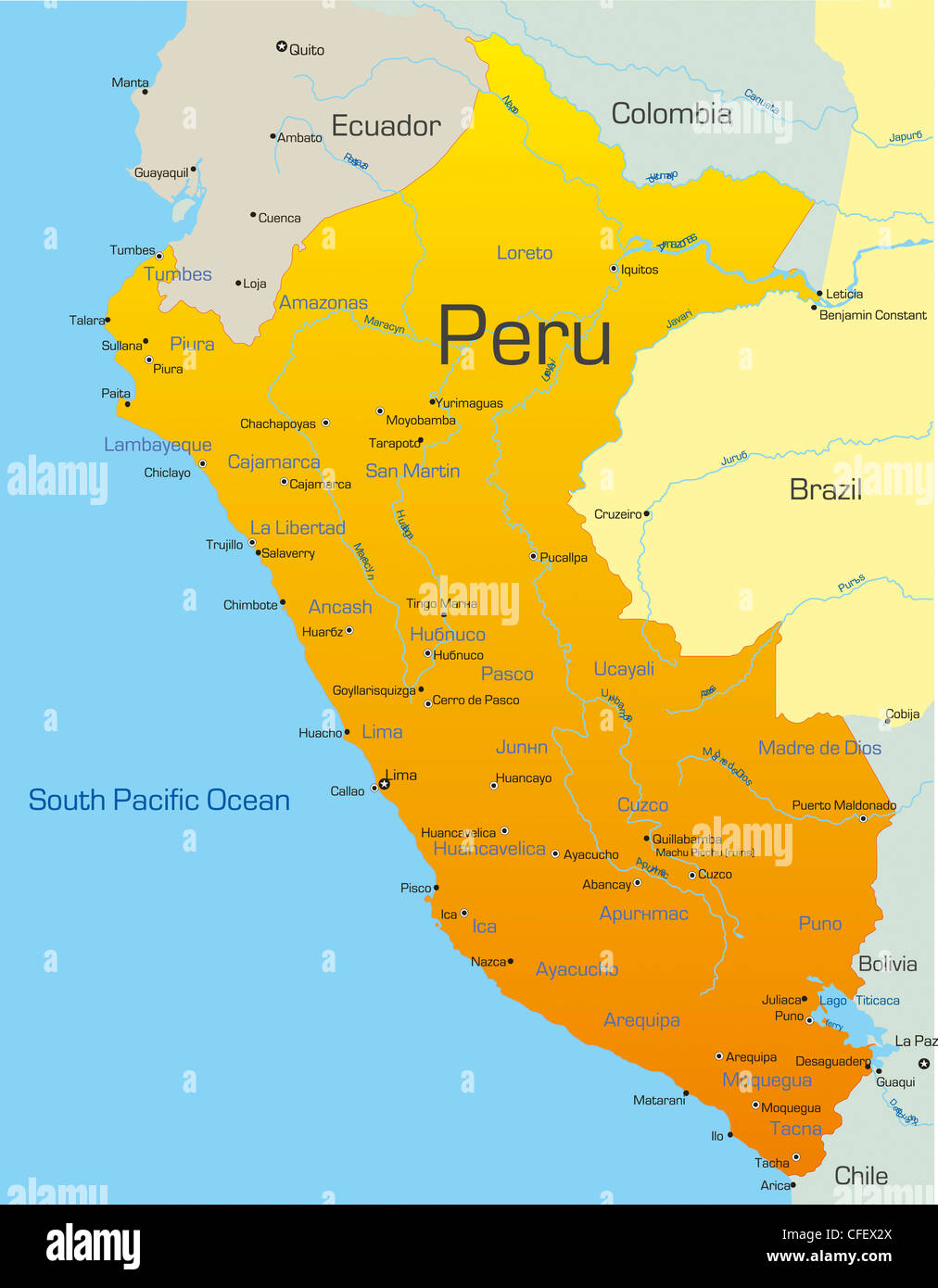 Abstract Vector Color Map Of Peru Country Stock Photo Royalty - Map of peru