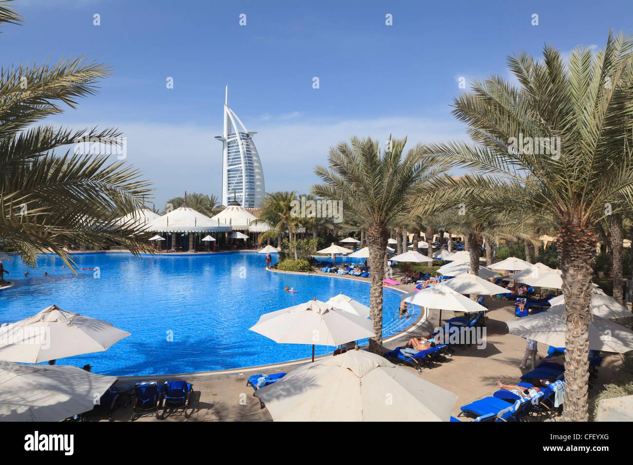 Burj Al Arab Seen From The Swimming Pool Of The Madinat Jumeirah Stock Photo Royalty Free Image