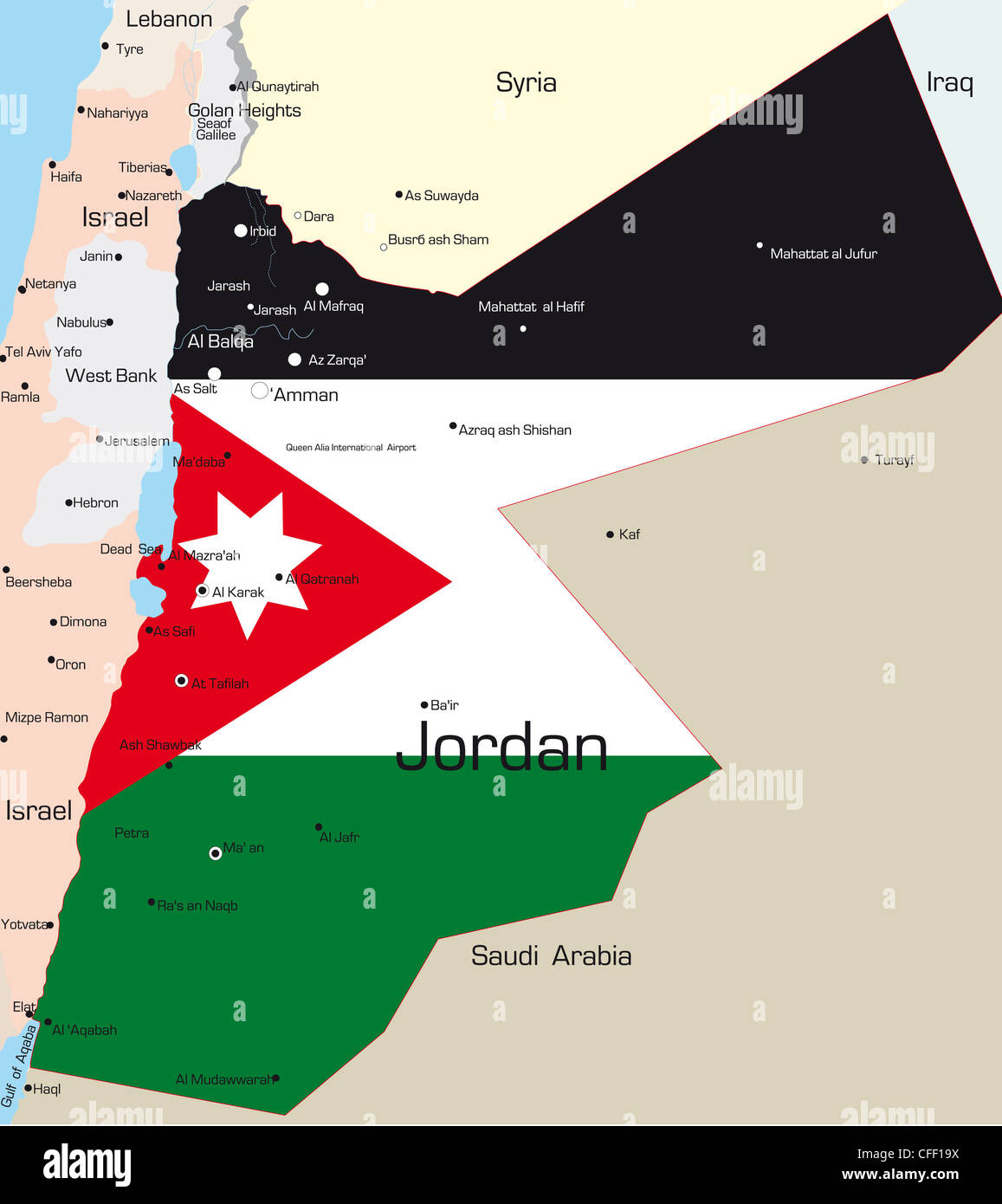 Abstract Vector Color Map Of Jordan Country Colored By