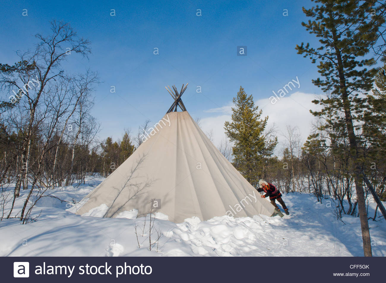 Sami man closes the flap on his lavvu tent at his homestead Kiruna Lapland arctic Sweden Scandinavia Europe & Sami man closes the flap on his lavvu tent at his homestead ...