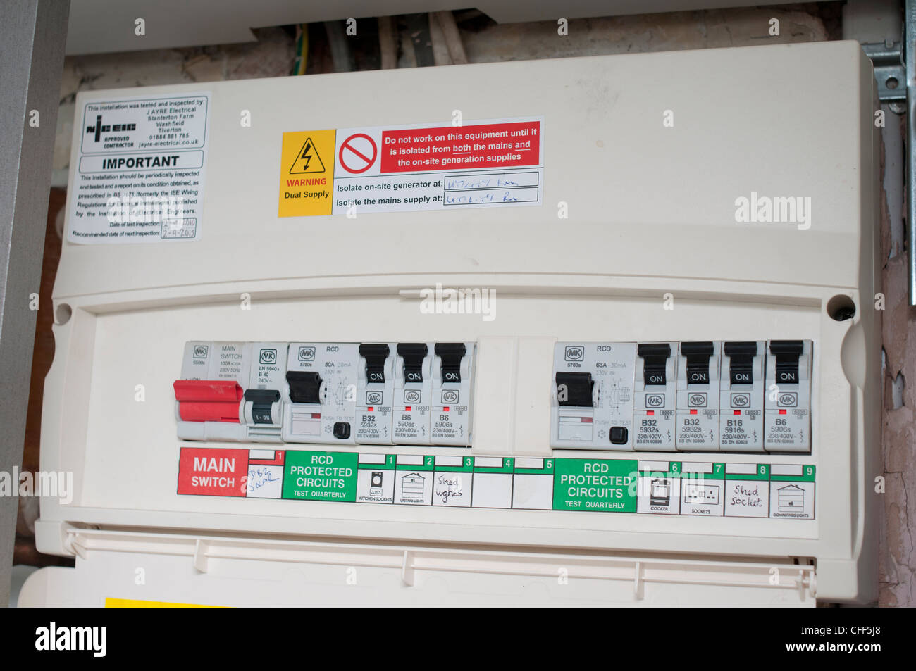 Domestic fuse box stock photo 43974288 alamy for Household electrical design