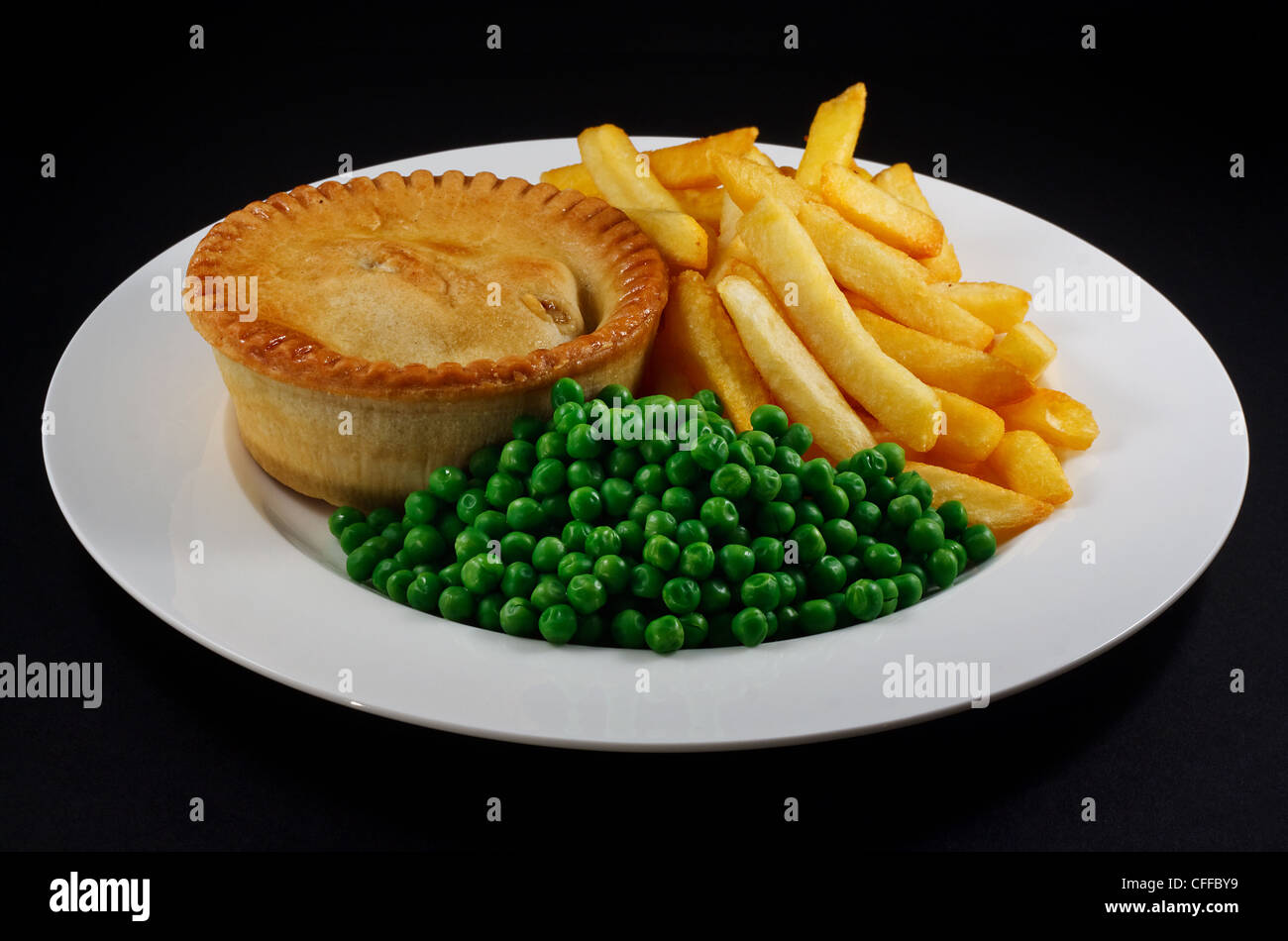 Pie And Chips With Peas A Traditional British Bar Dish
