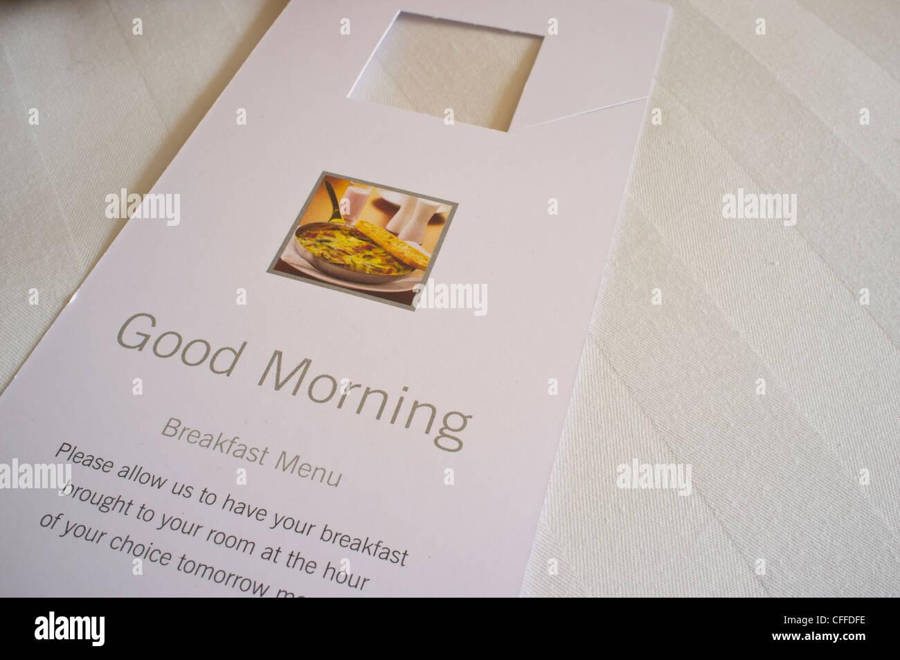 Good Morning Hotel Room Service Card Stock Photo, Royalty ...