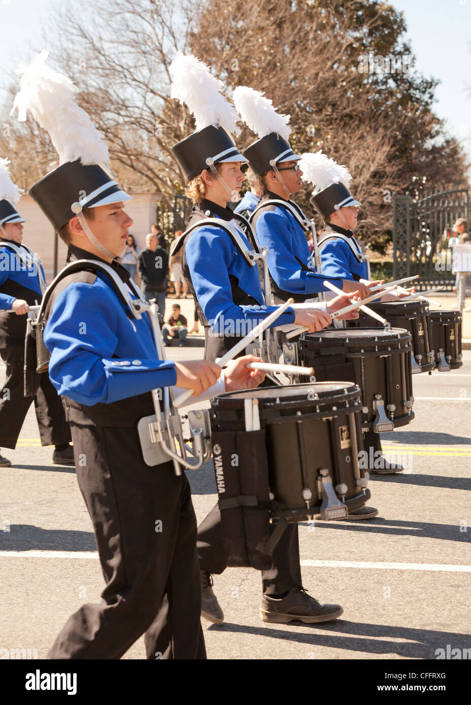 High school marching band snare drums section Stock Photo ...