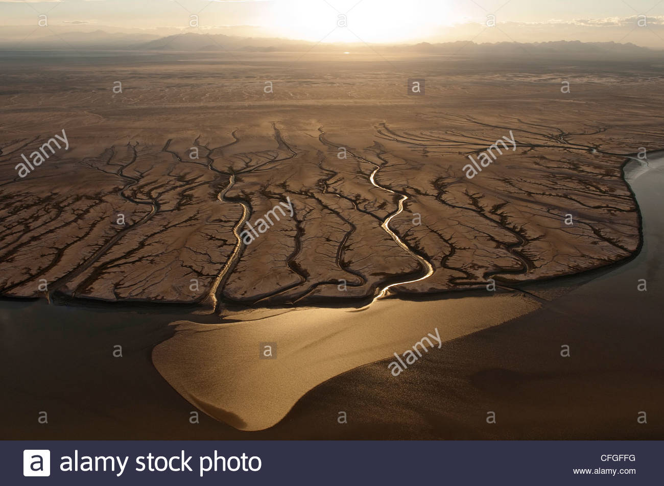 Aerial view of the dry Colorado River delta at the Sea of ...