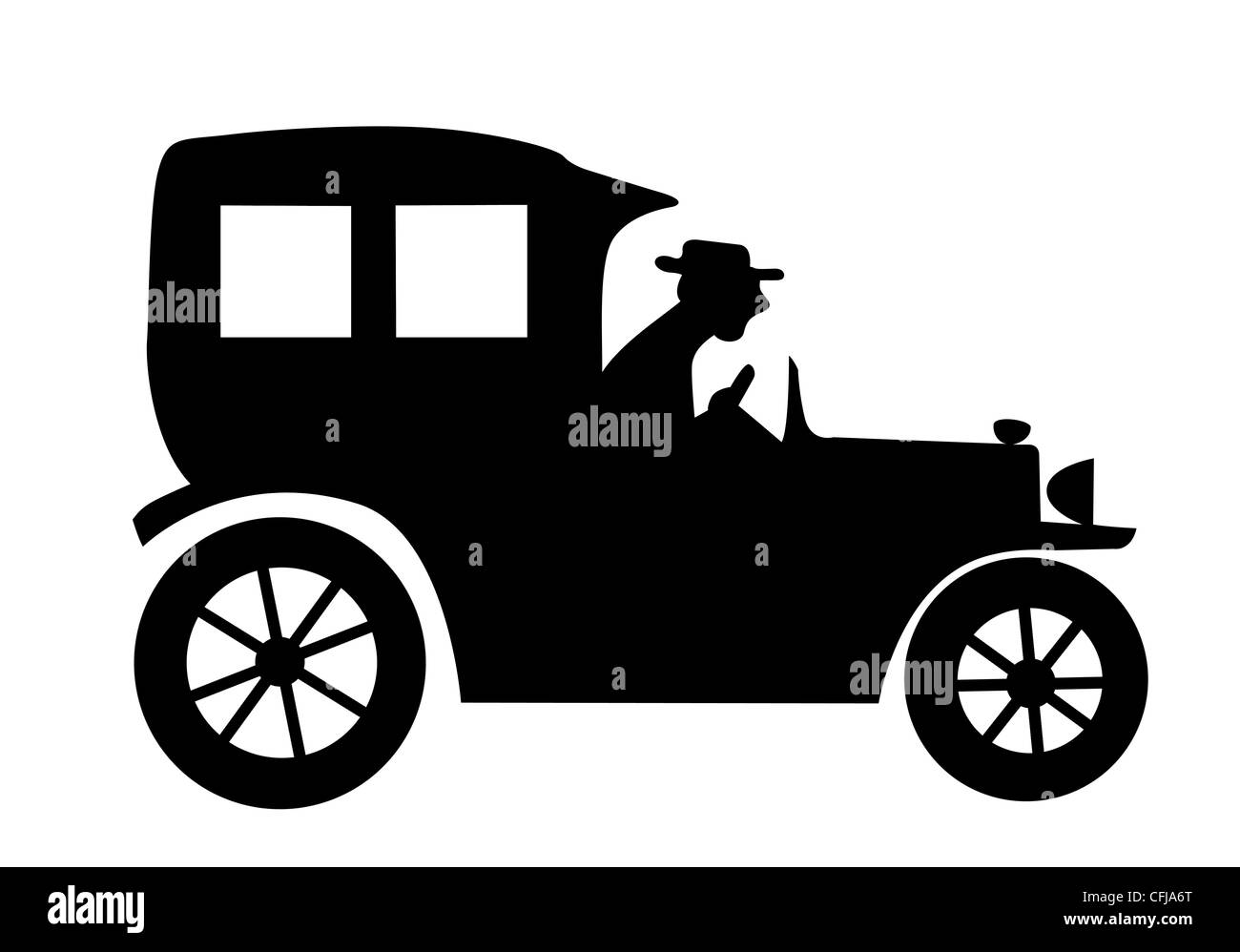 vector silhouette of the old-time car on white background Stock ...