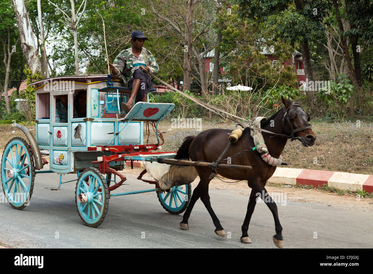 Burmese pony carts are the main mode of transport in and around Pyin Oo  Lwin.