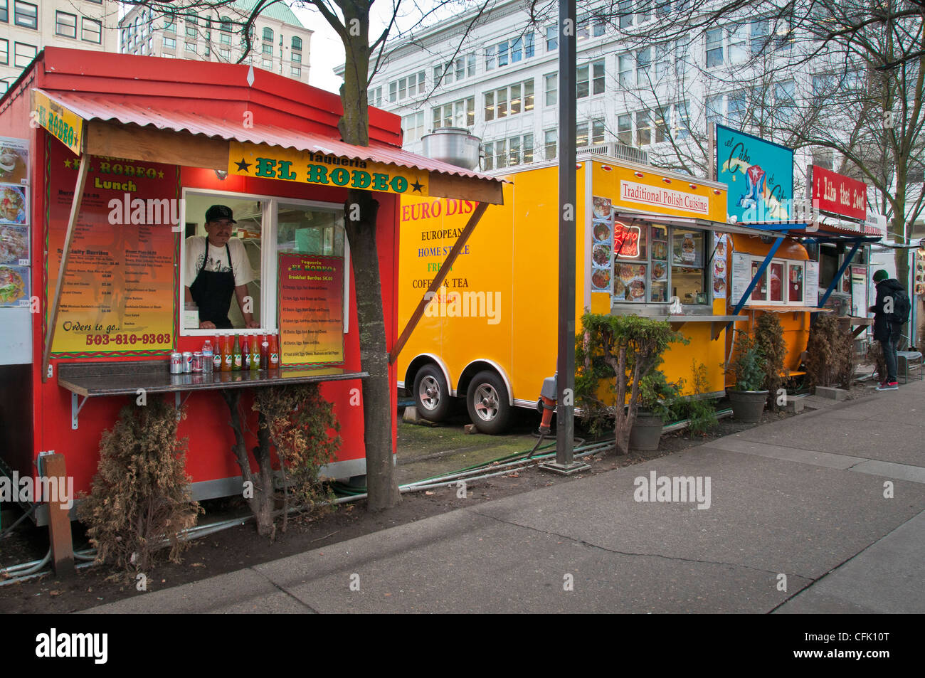 Food Carts In Downtown Portland Oregon At 10th And Alder