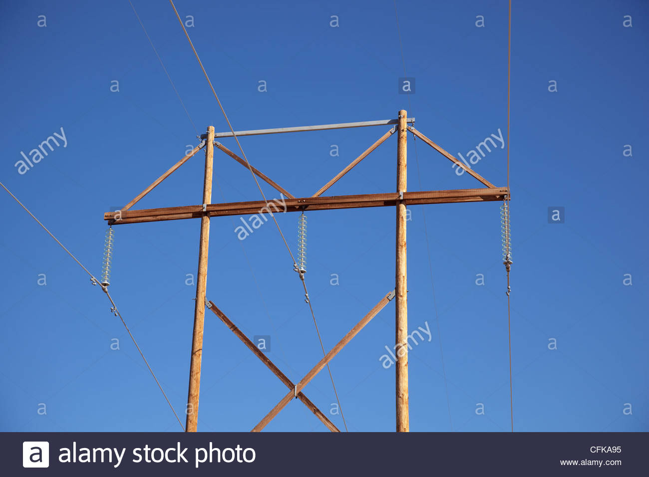 Electric Poles Power Lines : Wooden power poles lines arizona stock photo