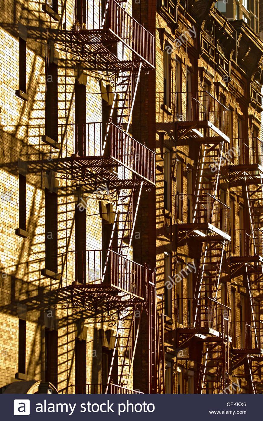 Fire Escape New York City 1940s : Fire escapes escape on tenement apartment building