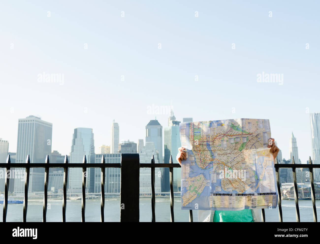 USA New York State New York City Brooklyn Woman holding map