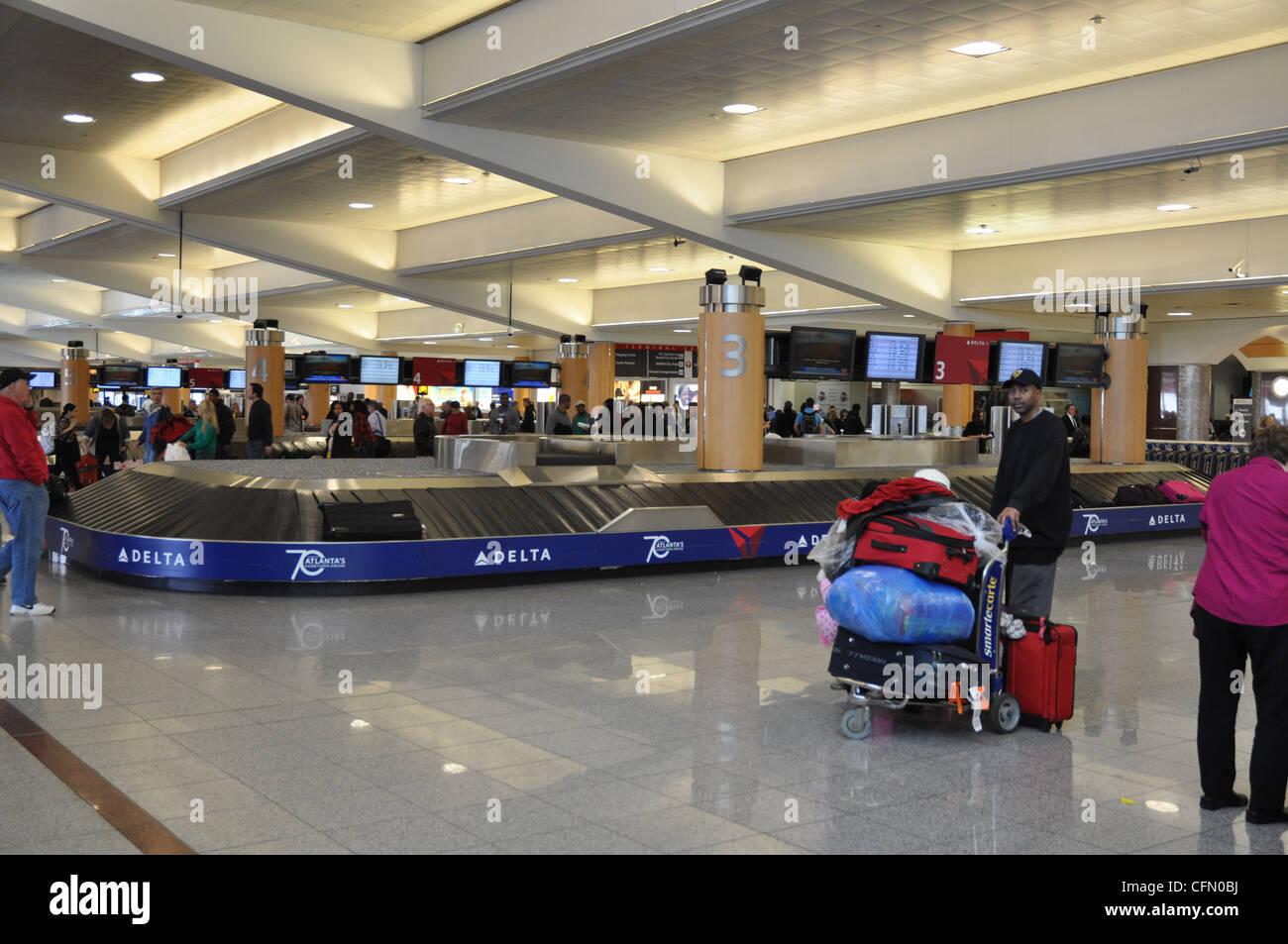 baggage claim at atlanta hartsfield jackson airport stock