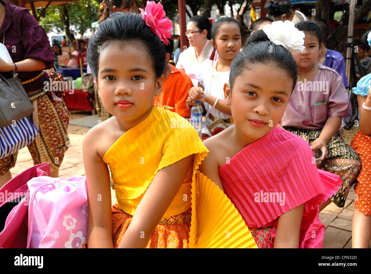 thai child Children inTraditional Thai costume worn at the Lop Buri festival. Lop Buri  Thailand on 15/02/2012