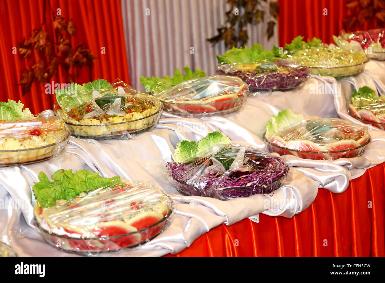 Dining Table With Food food salad colorful decoration desserts dinner nutritious healthy