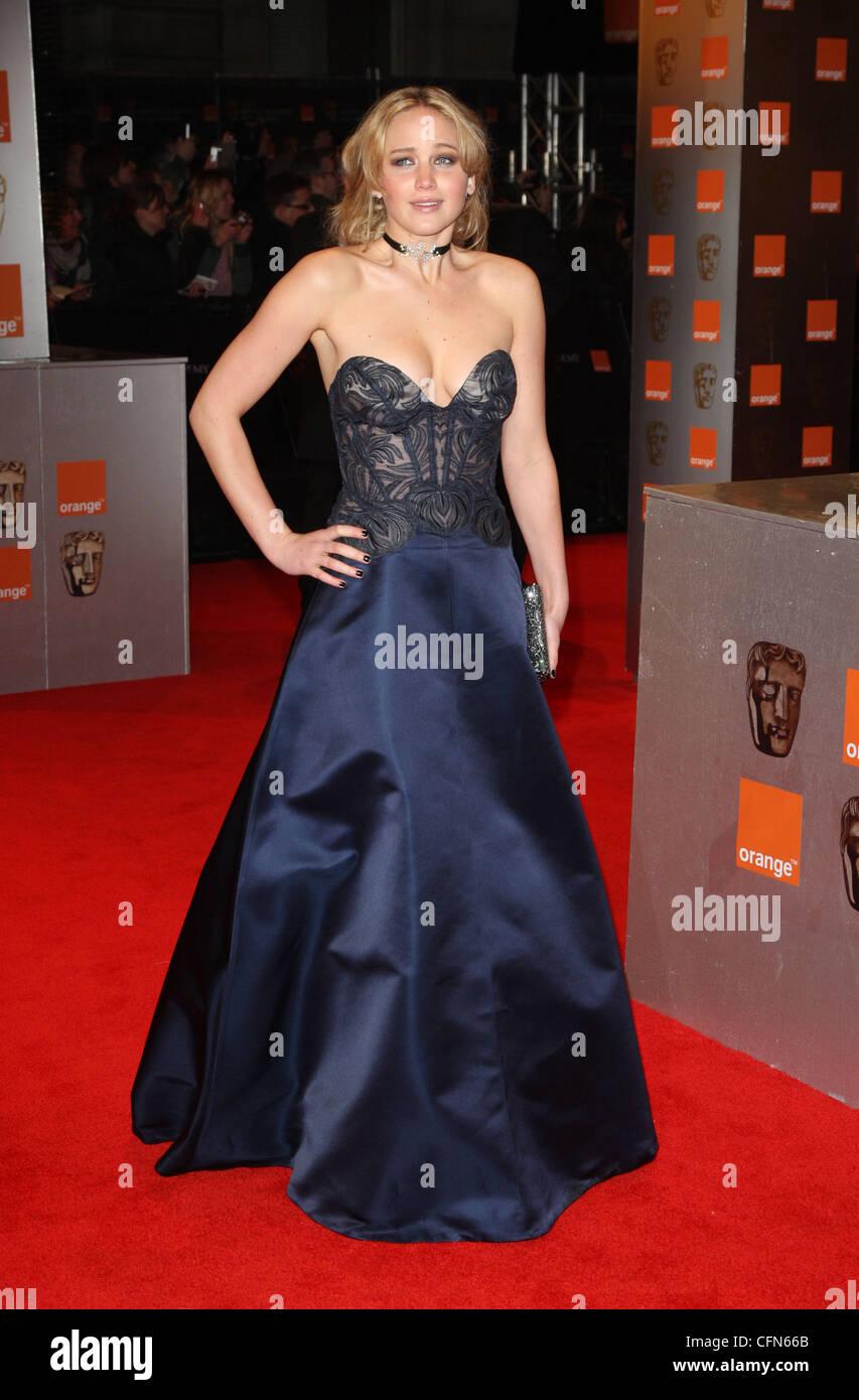 jennifer lawrence orange british academy film awards 2011