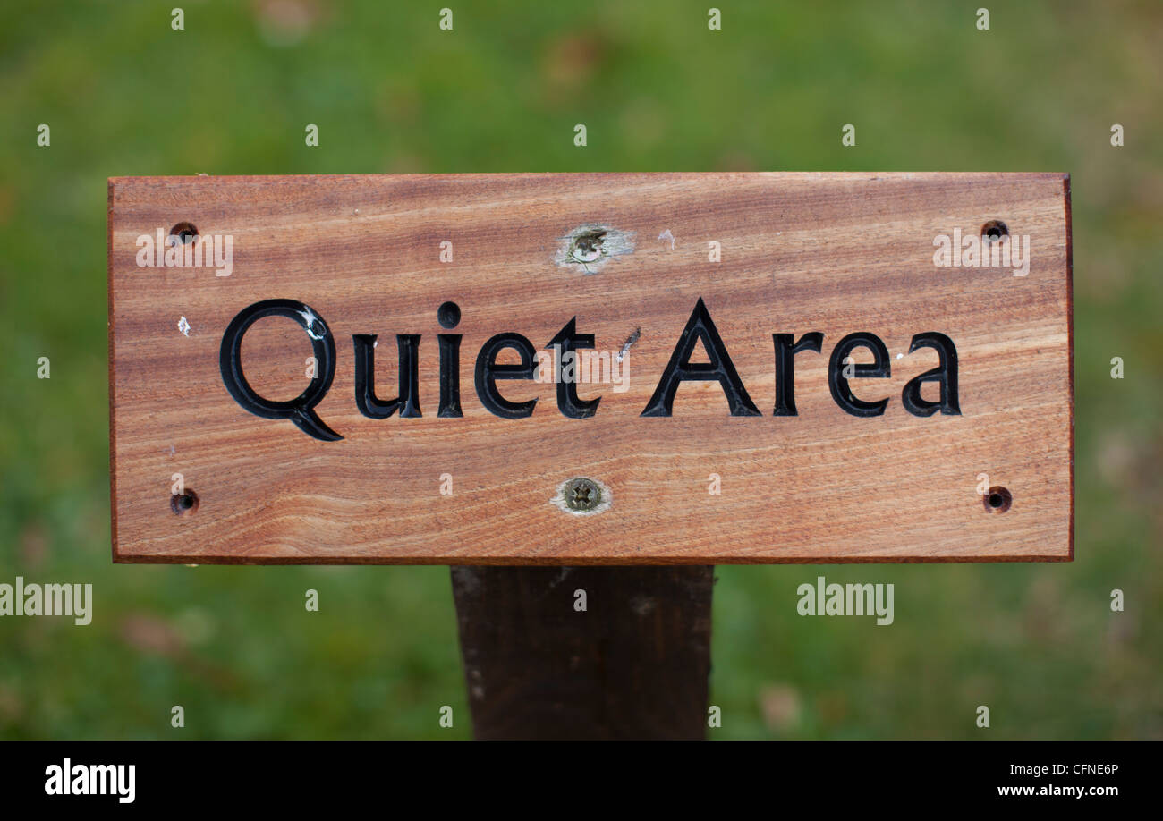a quiet area sign at quarr abbey near ryde isle of wight