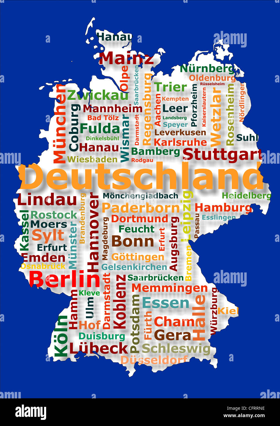 map of germany with the names of big german cities Stock Photo