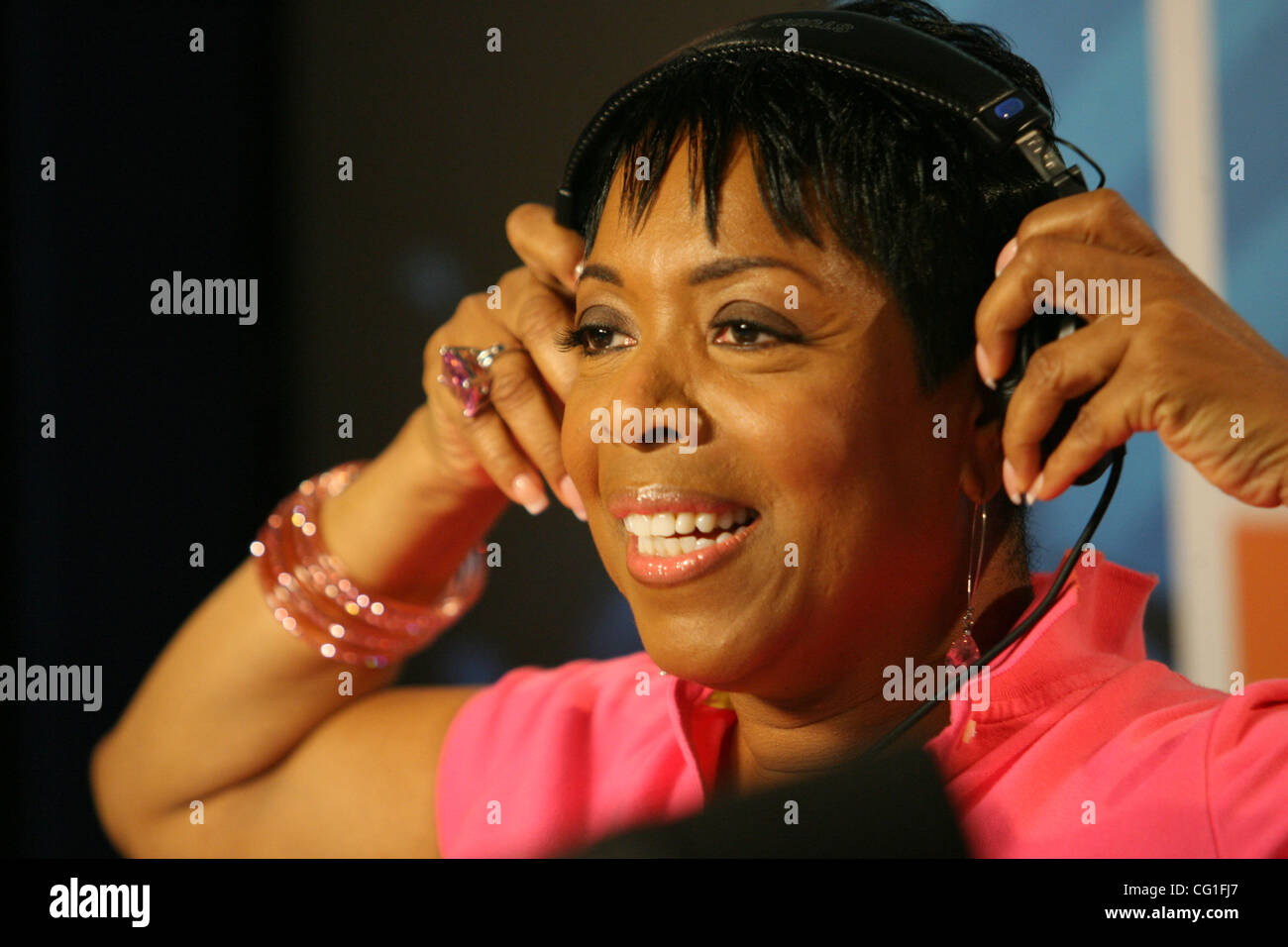 shirley strawberry the steve harvey morning show that airs on wbls 1075 in new york studios today aug 13 2007 photo credit mariela lombard zuma