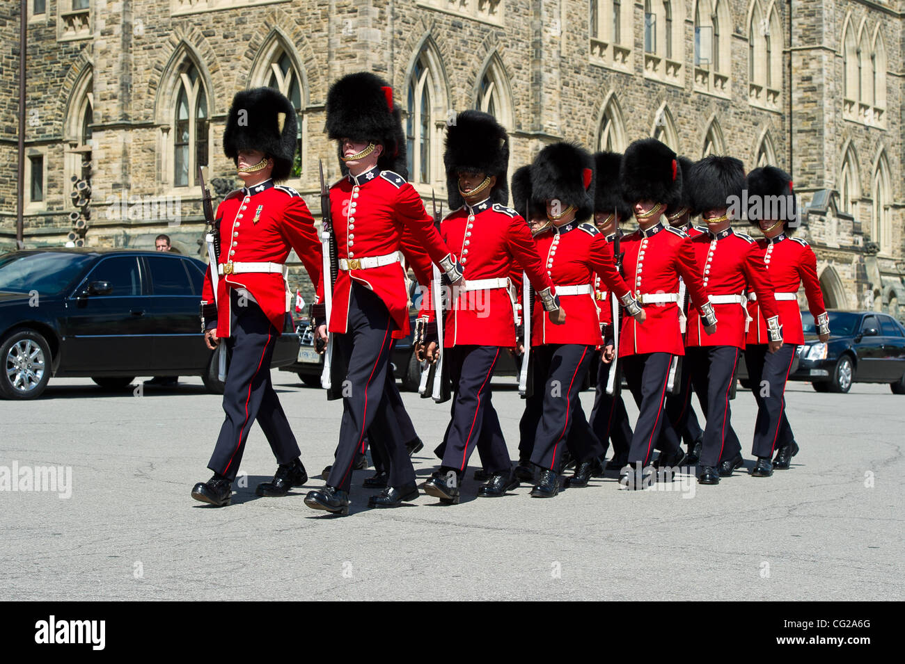 The governor general s foot guards - 25 2011 Ottawa Ontario Canada The Governor General Footguards March In For The Begining Of A Ceremony For The Departure Of The Body Of Ndp Leader