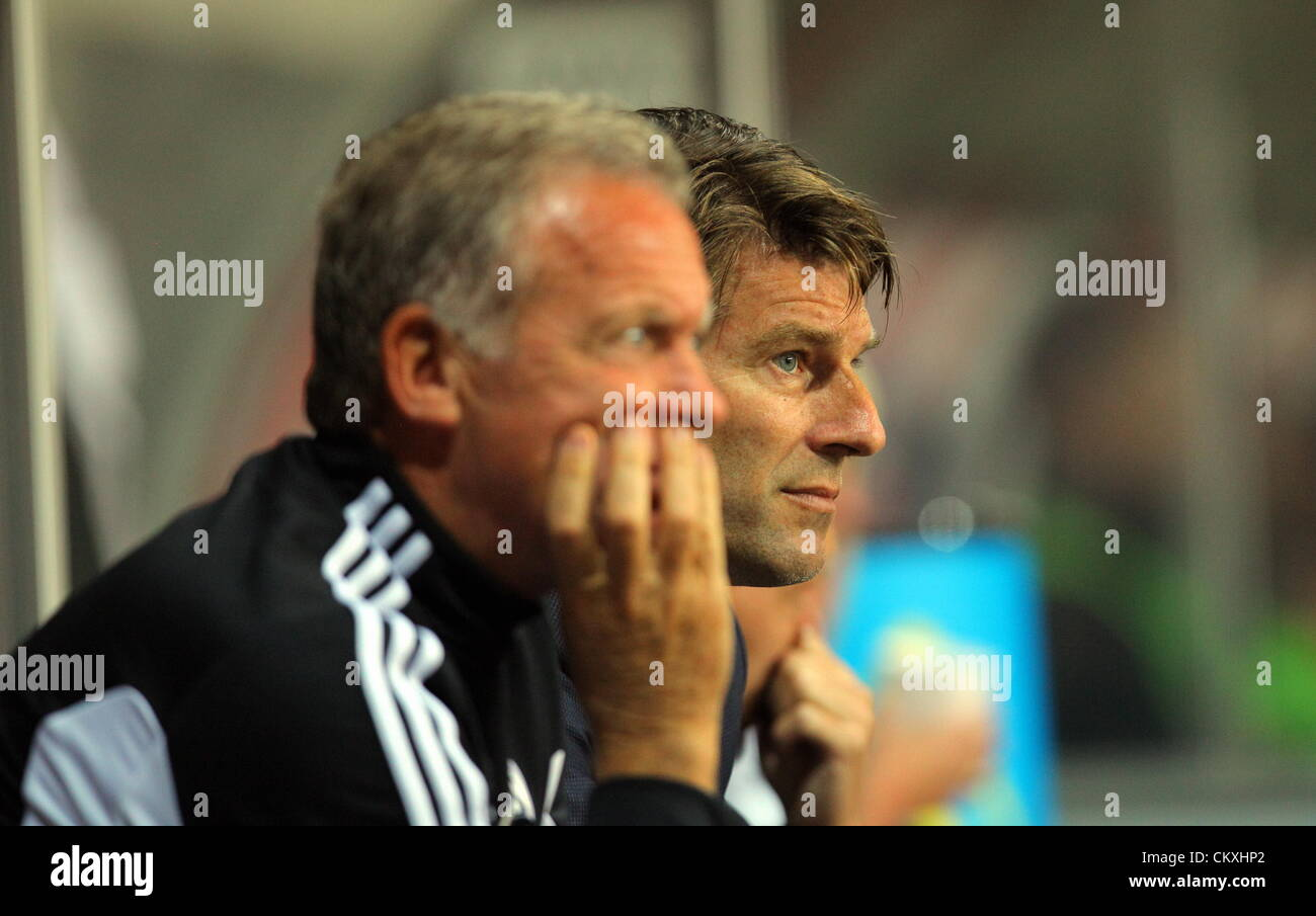 Pictured L R Alan Curtis with Swansea manager Michael Laudrup