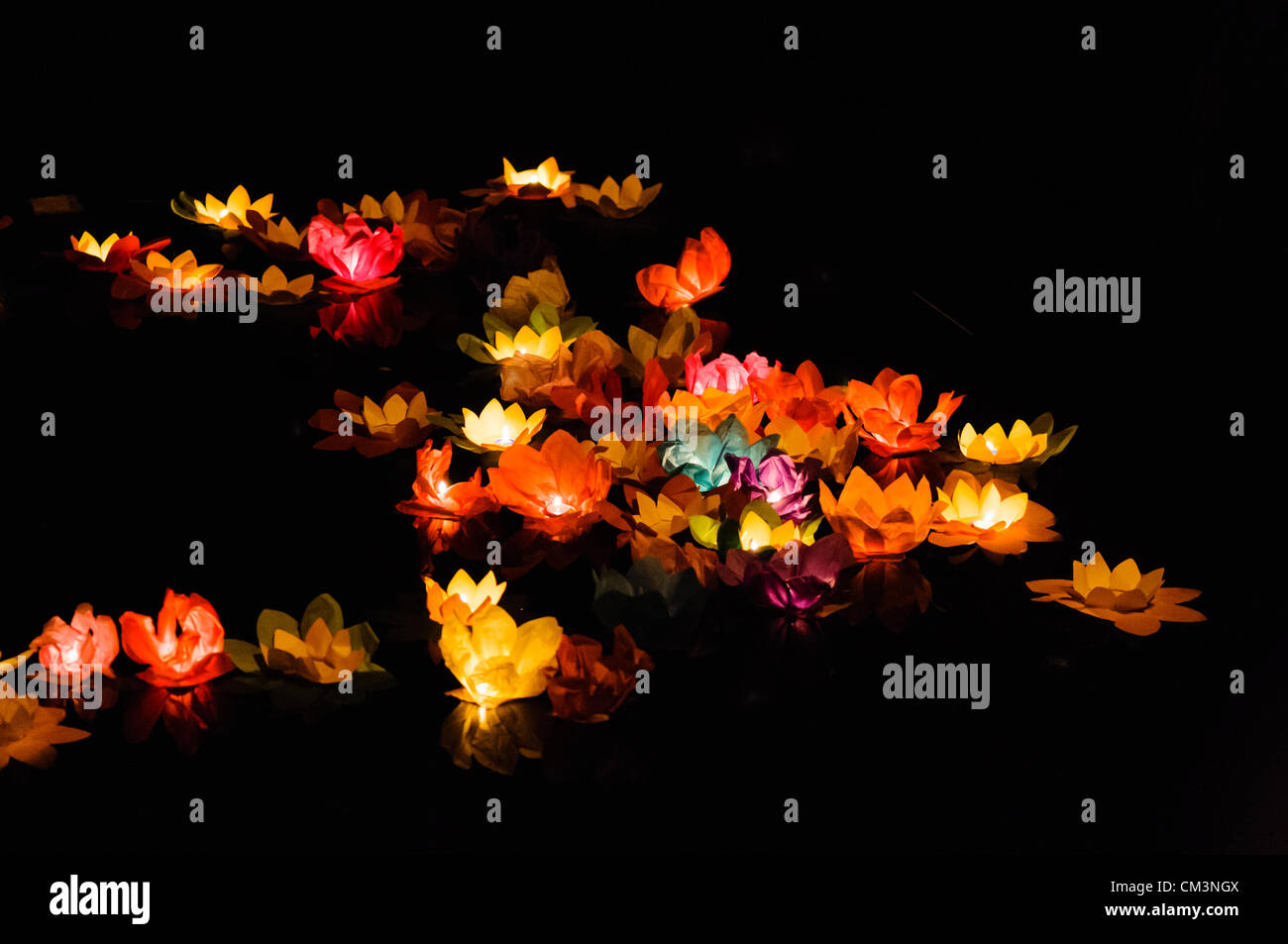 Chinese float stock photos chinese float stock images alamy paper lotus flowers with candles float on a river at night to mark the chinese mid dhlflorist Choice Image