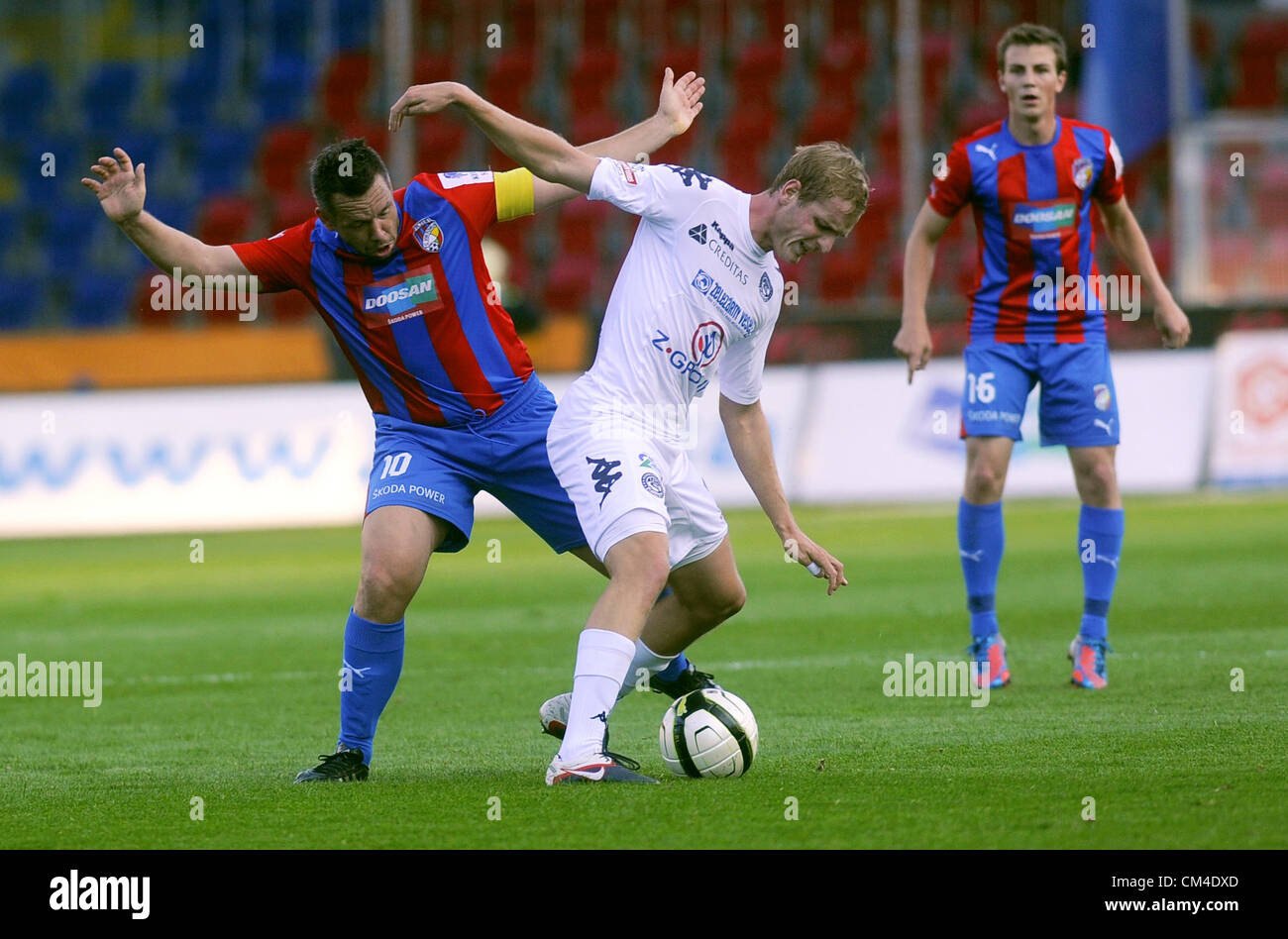 Czech Soccer League Th Round Fc Viktoria Plzen Vs  Fc Slovacko On September   Pilsen Czech Republic Pavel Horvath Left Of Plzen And