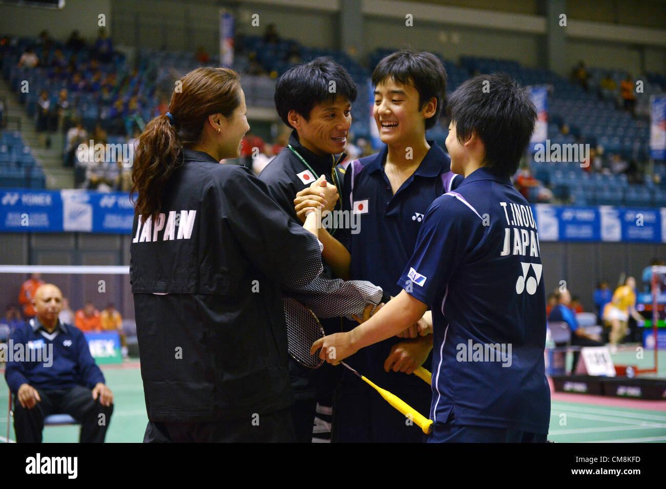 L to R Kim Son Suk JPN Takaaki Hayashi JPN Yuki Kaneko JPN