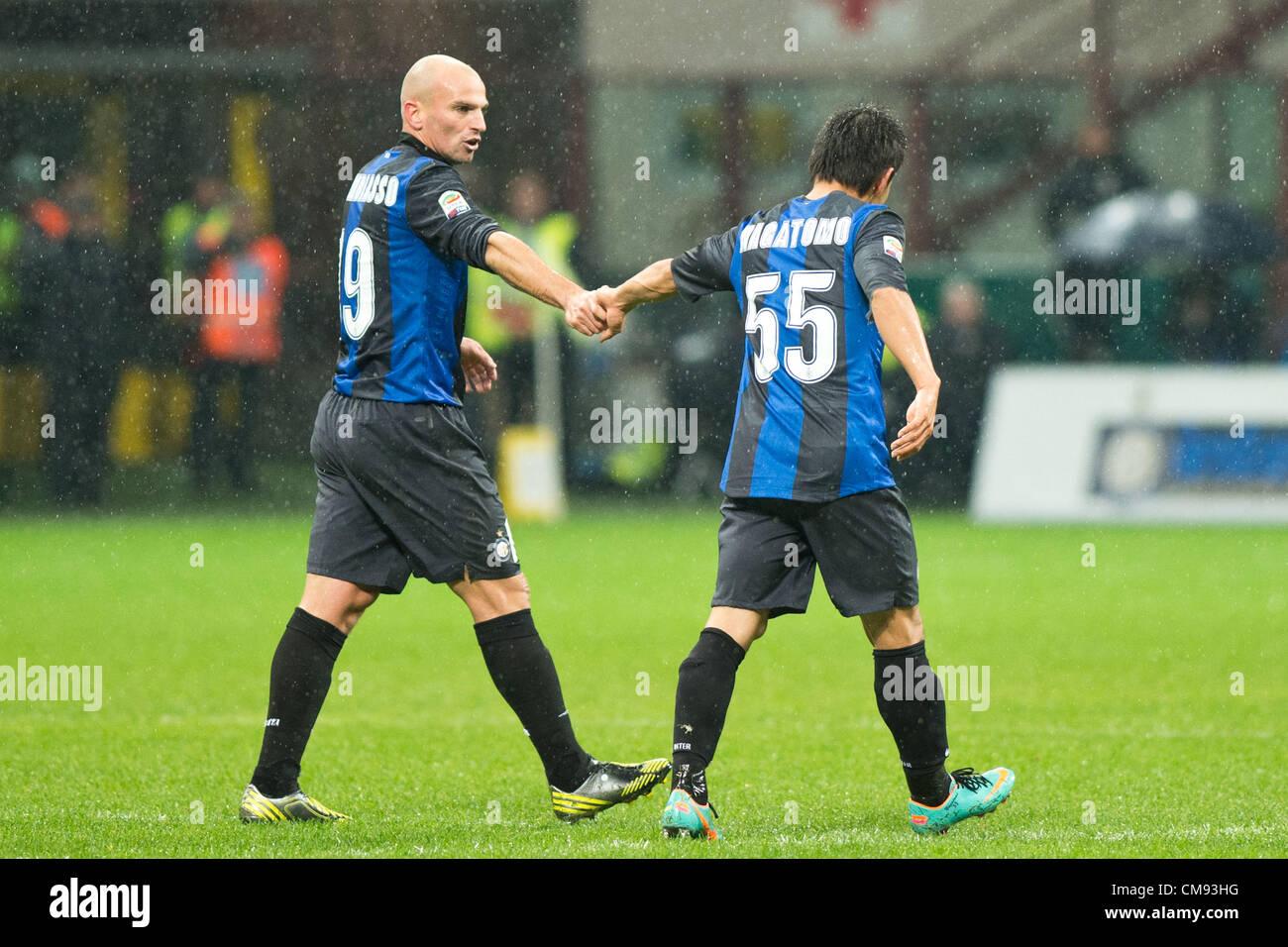 l r esteban cambiasso yuto nagatomo inter october 31 2012 football soccer italian serie a match between inter milan 3 2 sampdoria at stadio