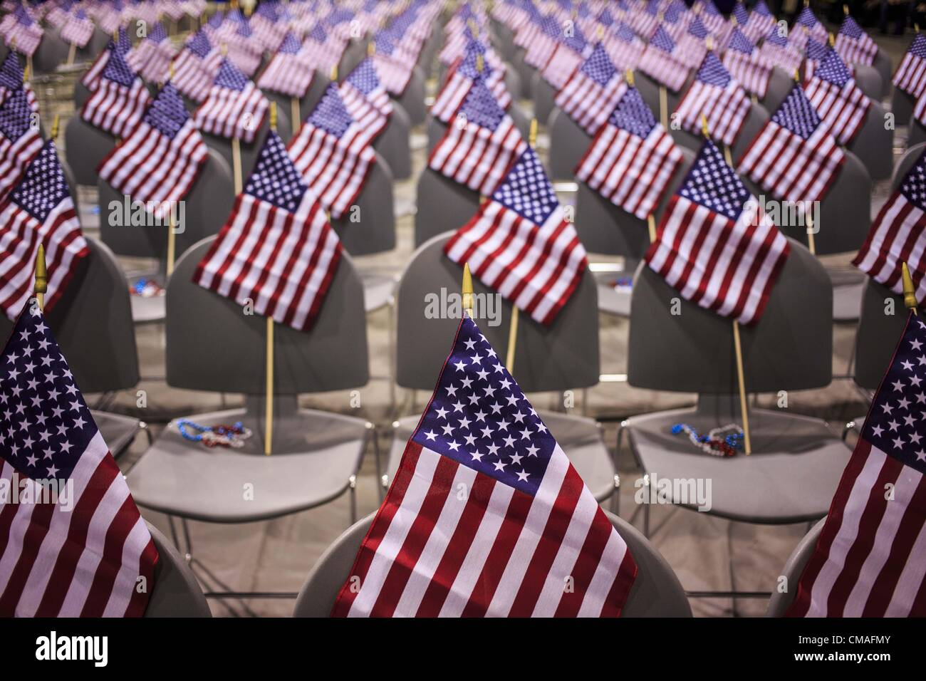July   Phoenix Arizona U S American Flags On The New Citizens Chairs In The Auditorium Before The Naturalization Ceremony Wednesday