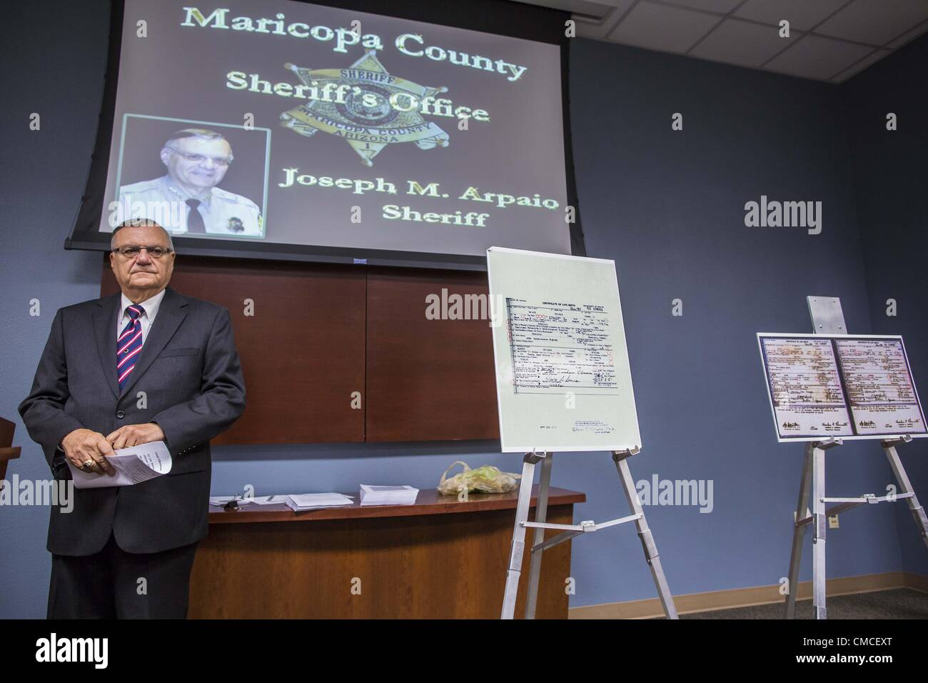 July 17 2012 arizona us maricopa county sheriff joe arpaio july 17 2012 arizona us maricopa county sheriff joe arpaio at the podium before his announcement that president obamas birth certificate is not xflitez Gallery