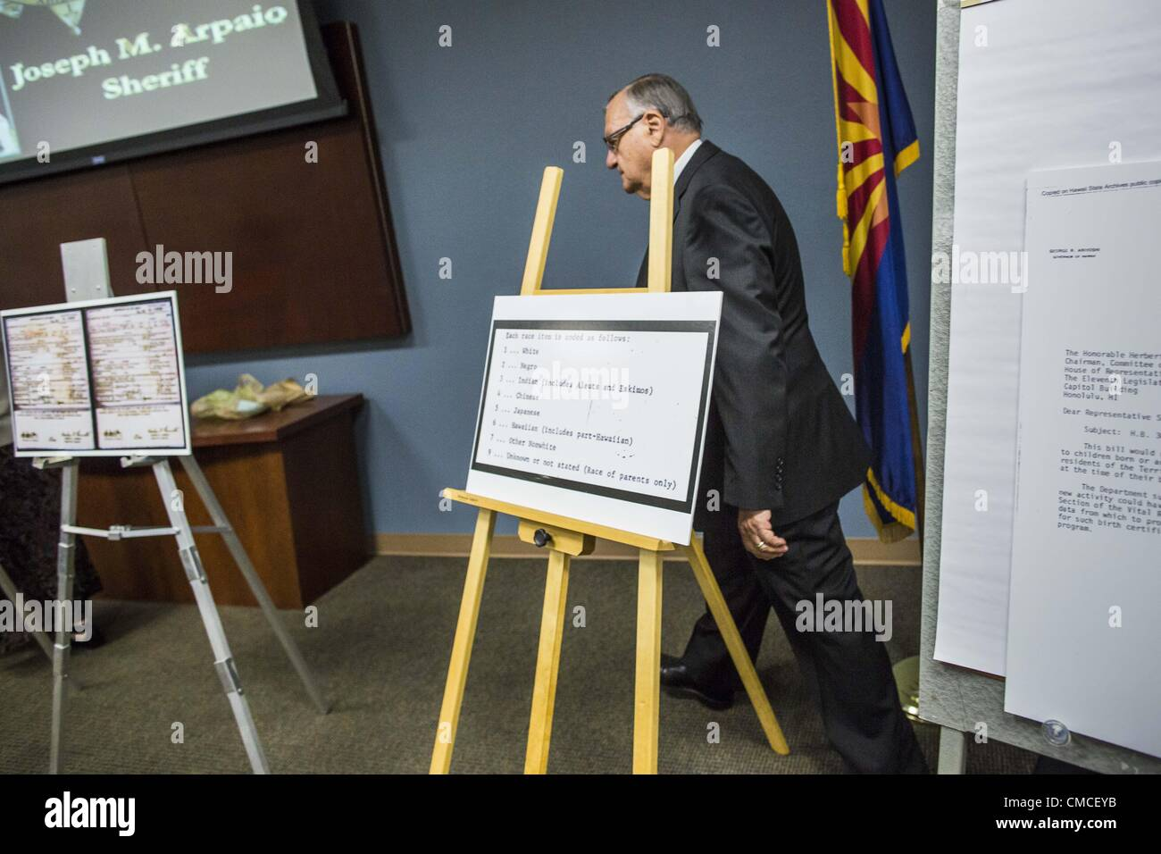 July 17 2012 arizona us maricopa county sheriff joe arpaio july 17 2012 arizona us maricopa county sheriff joe arpaio walks into a press conference at his office tuesday mike zullo arpaios volunteer xflitez Gallery
