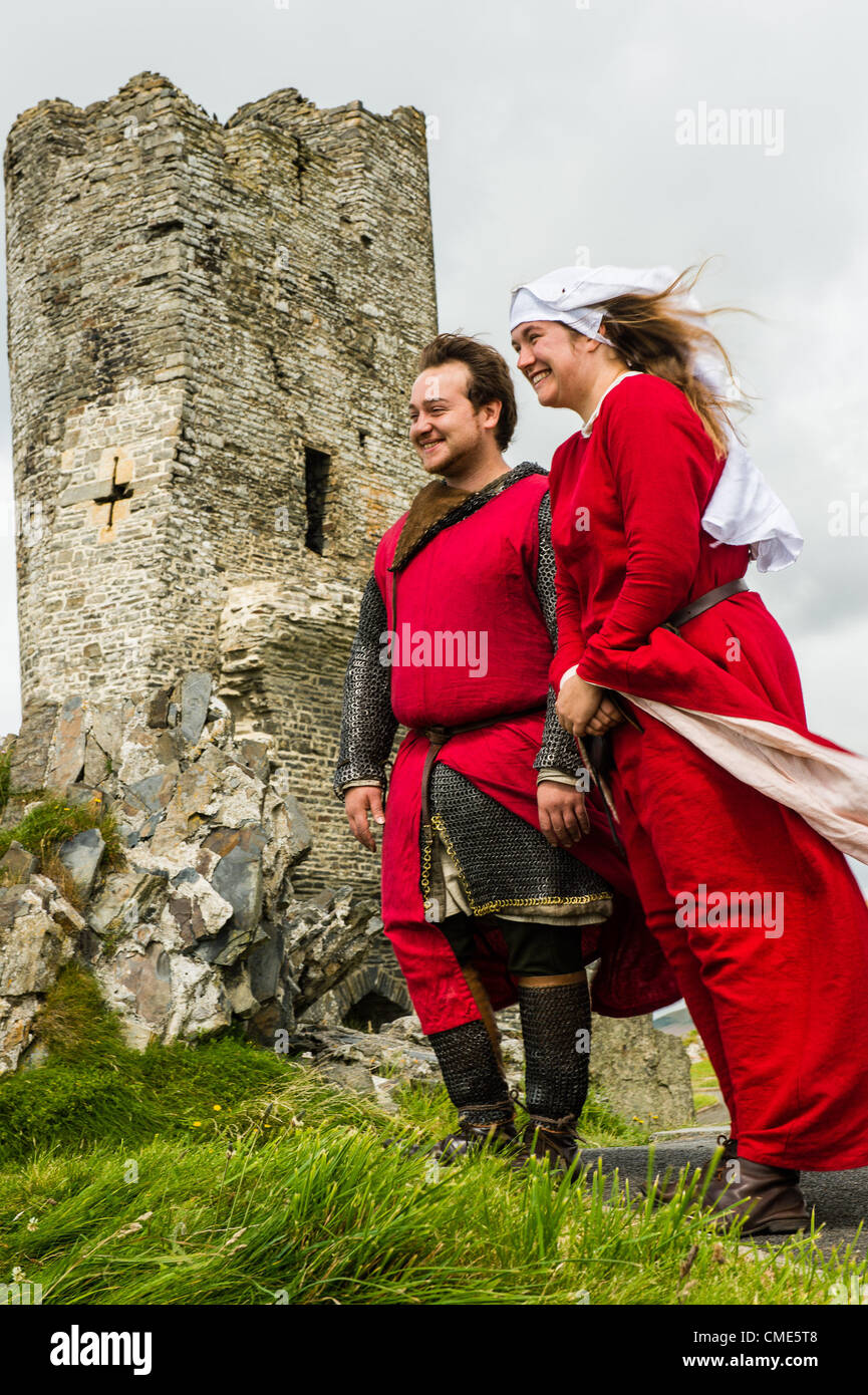 Stock photo two members of historia normannis a 12th century reenactment group one of the events at aberystwyth castle part of the nationwide