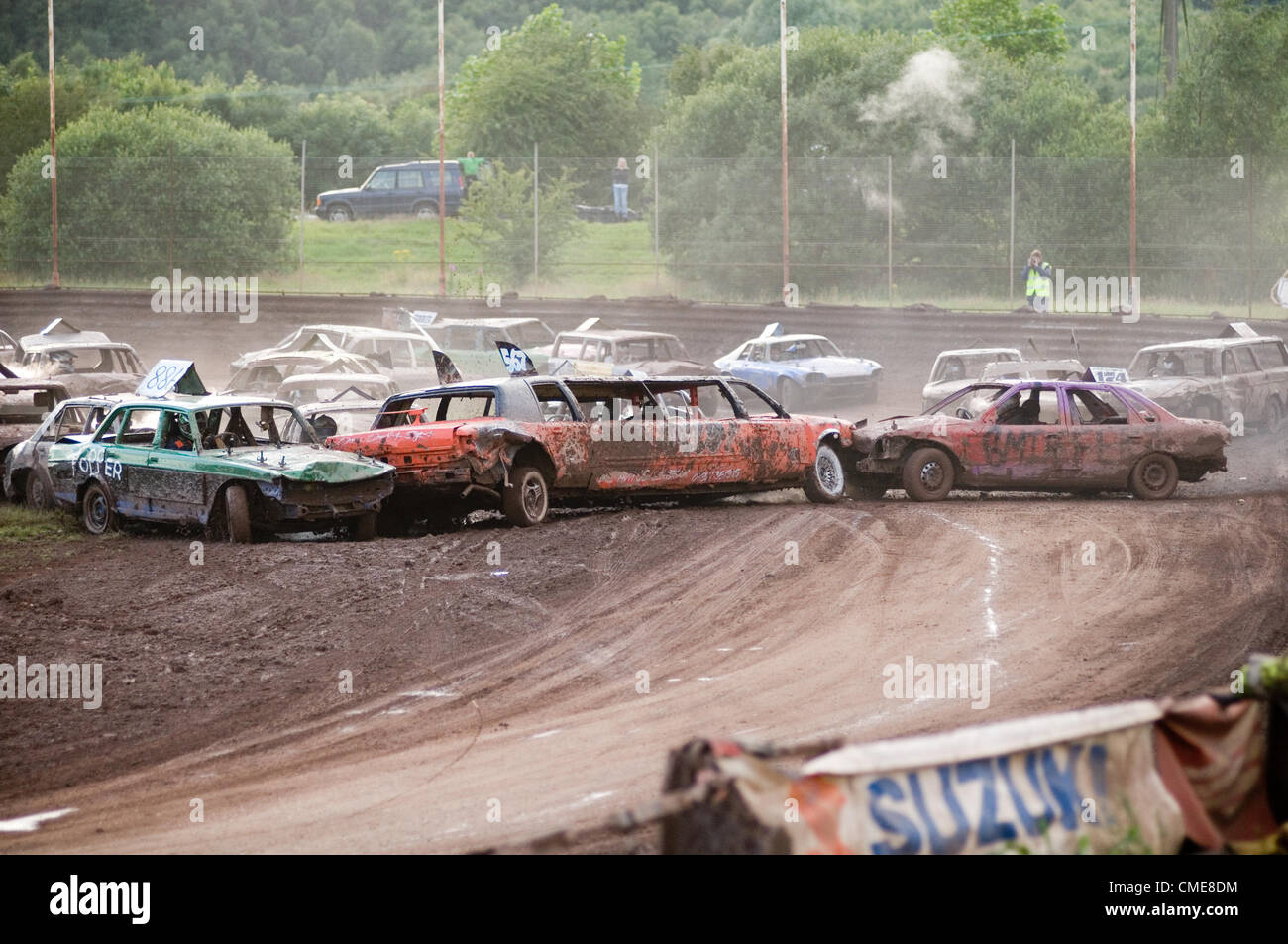banger race racing crash sequence track stock cars car crashes limo limousine side swipe races scrap junk old