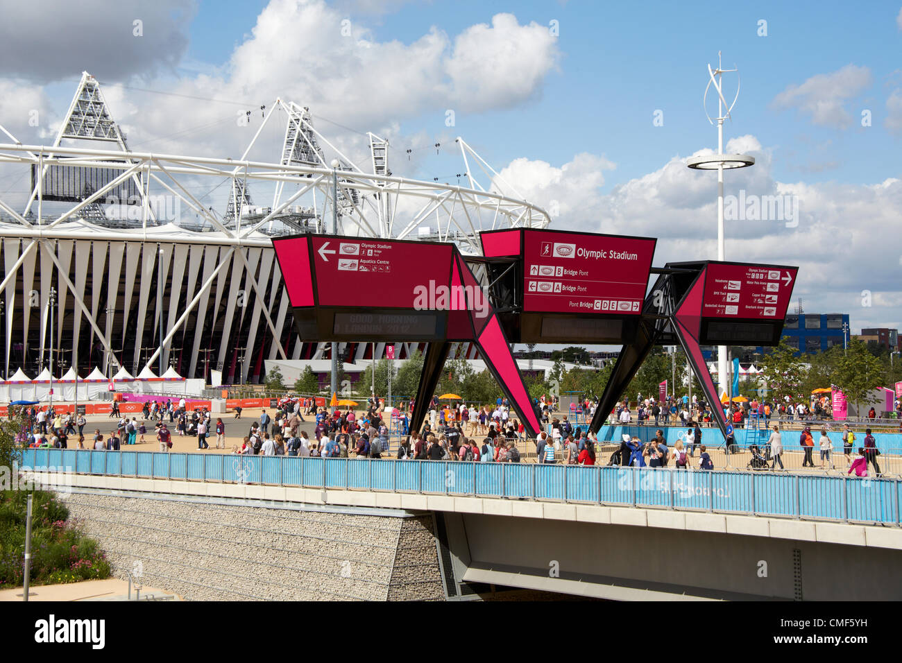 Athletics Stadium Beyond Stratford Gate On A Sunny Day At Olympic Park London 2012 Games Site E20 UK