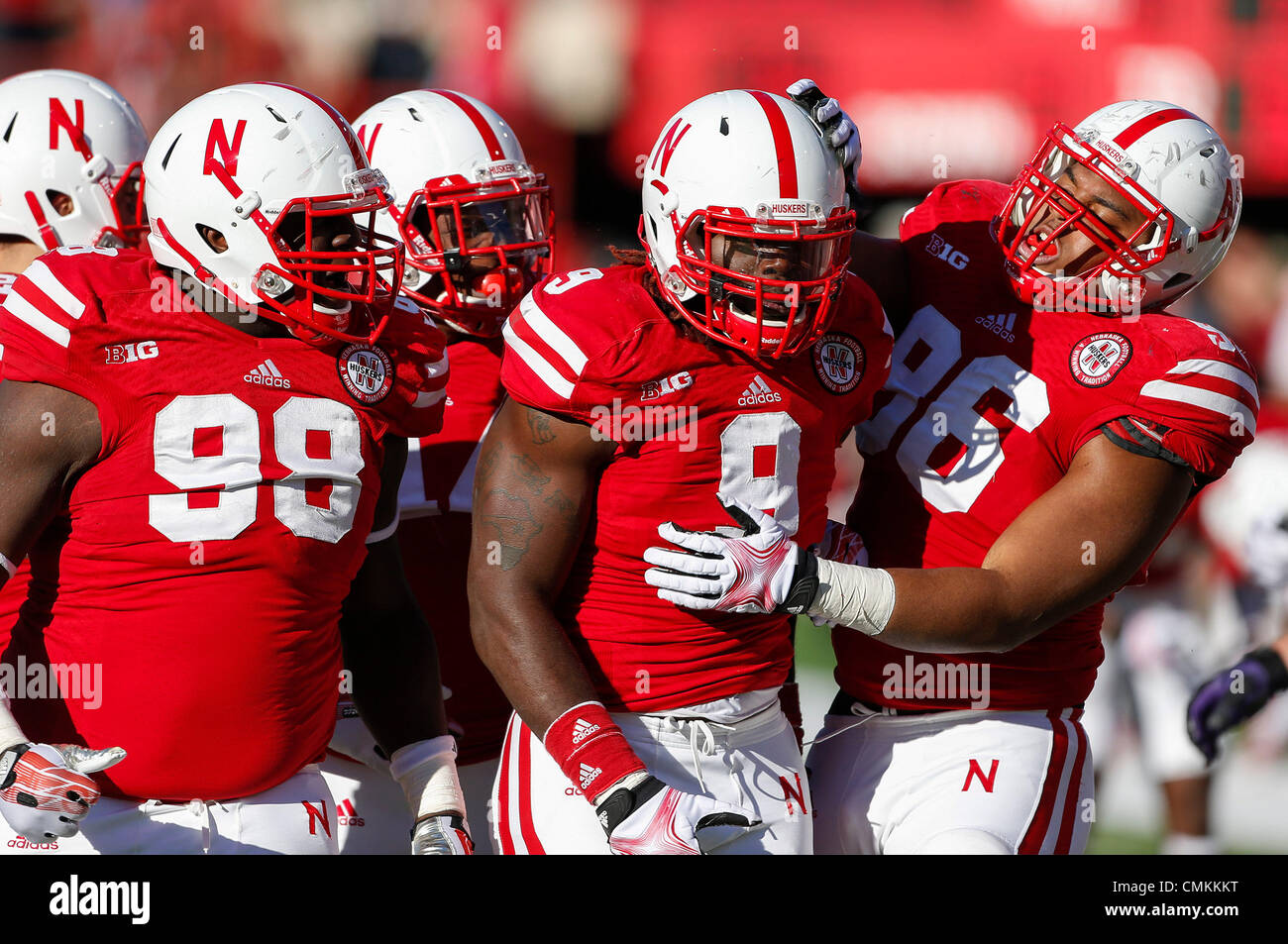 Nov 02, 2013   Lincoln, NE U.S.   Nebraska Cornhuskers Defensive End Jason  Ankrah #9 Is Congratulated By Teammates Defensive Tackle Aaron