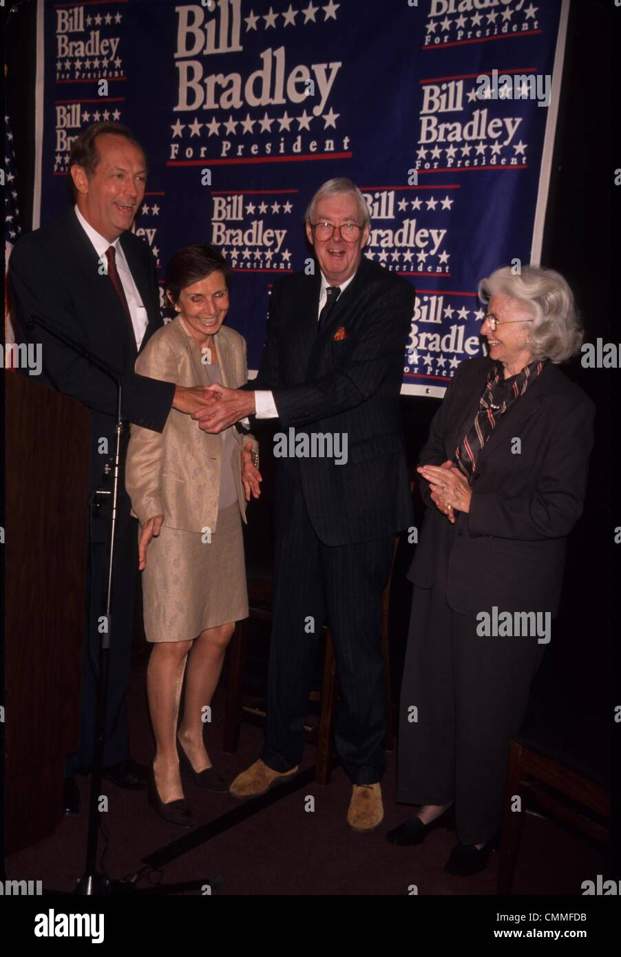 BILL BRADLEY with wife Ernestine Schlant and Patrick Moynihan Sen
