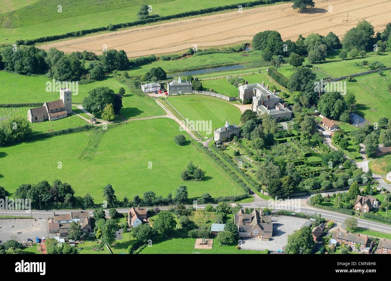 Aerial view of morville hall in shropshire with the dower for See images of my house