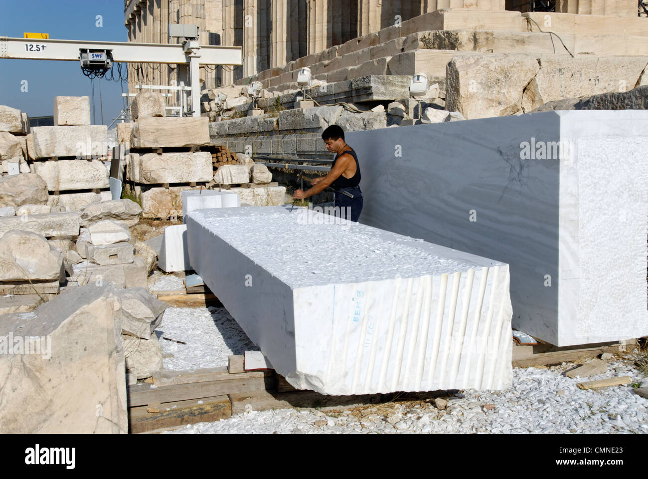 Acropolis Athens Greece View Of Work Man Modern Marble