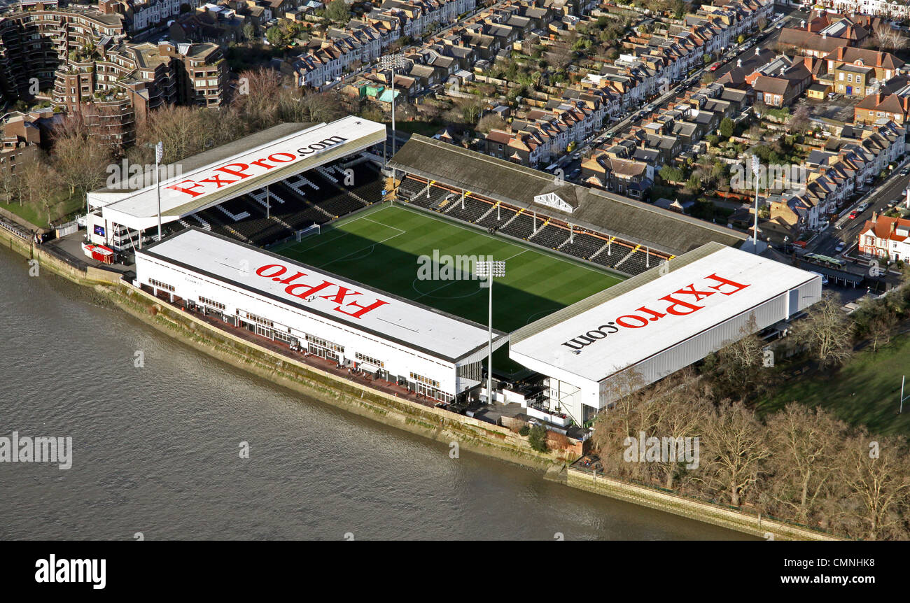 aerial view of Craven Cottage football ground, home of ...