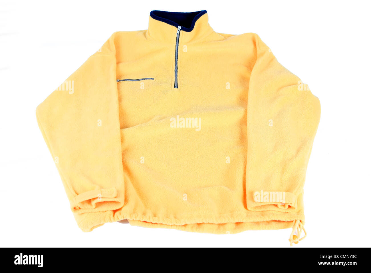 A yellow Fleece pullover jacket on a white background Stock Photo ...