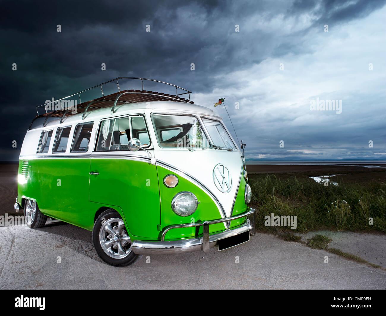 green vw volkswagen split screen camper van bus hippie hippy 1960s stock photo royalty free. Black Bedroom Furniture Sets. Home Design Ideas