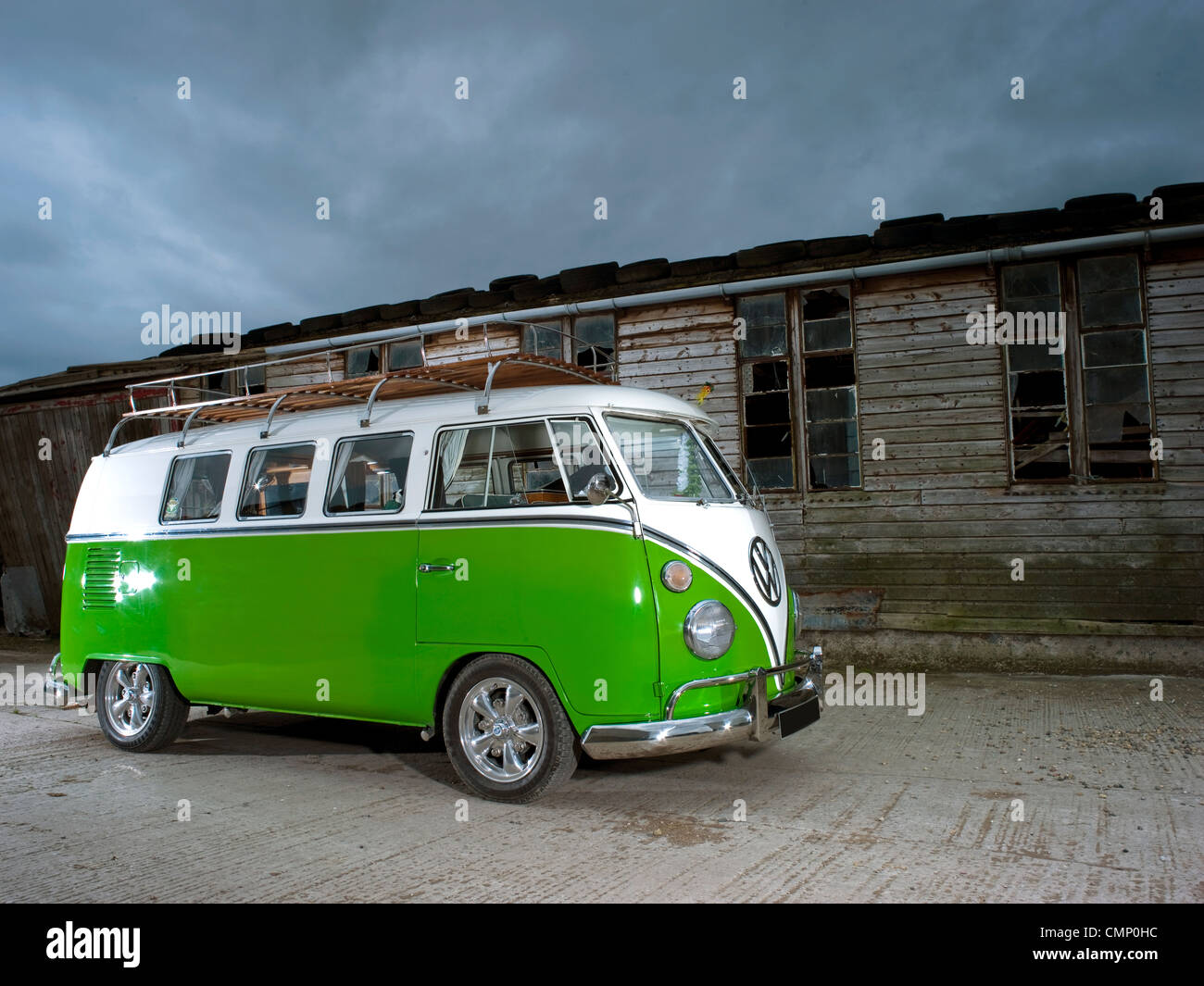 Green Vw Volkswagen Split Screen Camper Van Bus Lowered Modified Pimped Lime Hippie Hippy 1960s 1950s Aircooled Retro Old Barn