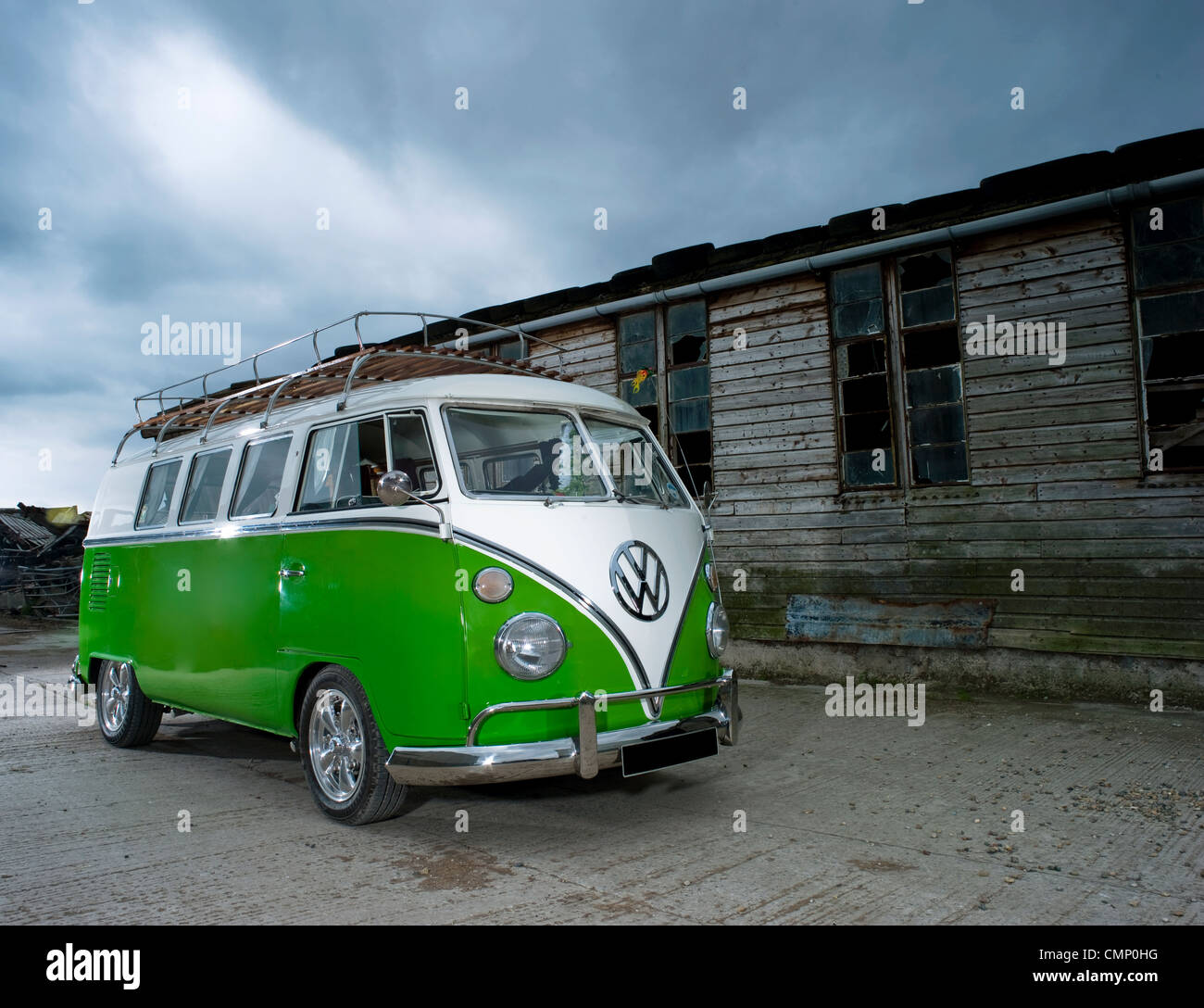 Green Vw Volkswagen Split Screen Camper Van Bus Lowered Modified Pimped Lime Hippie Hippy 1960s 1950s Aircooled Retro