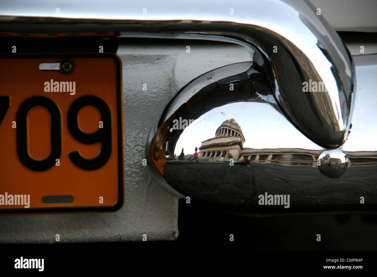 A close up of a vintage car number/registration plate in Havana ...