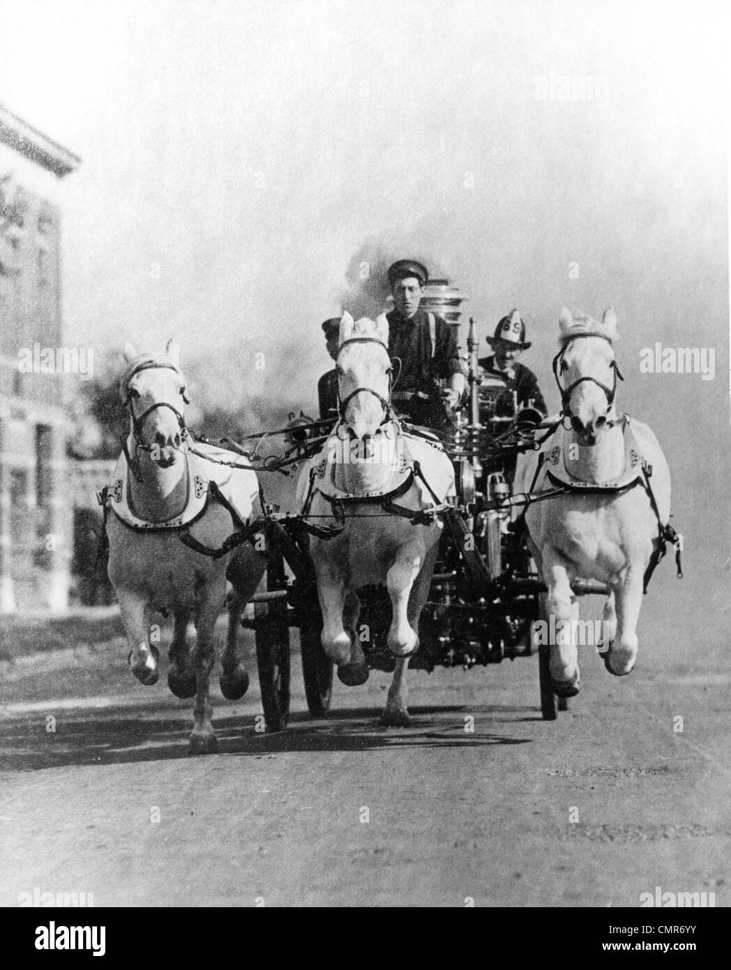 1890s 1900s Old Time Head On Shot Of Horse Drawn Fire