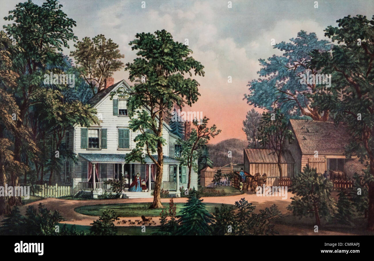 1800s 1860s CURRIER   IVES LITHOGRAPH THE FARMERS HOME SUMMER FARMHOUSE  FAMILY BARN HORSE CARRIAGE IDYLLIC. 1800s 1860s CURRIER   IVES LITHOGRAPH THE FARMERS HOME SUMMER
