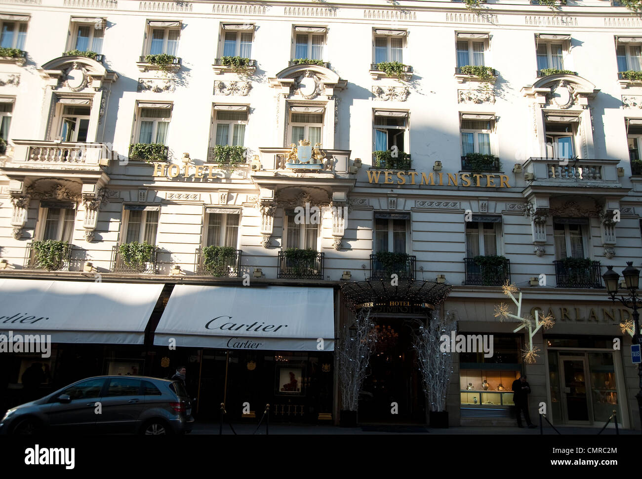 Paris, France - Westminster hotel and Cartier shop Stock Photo ...