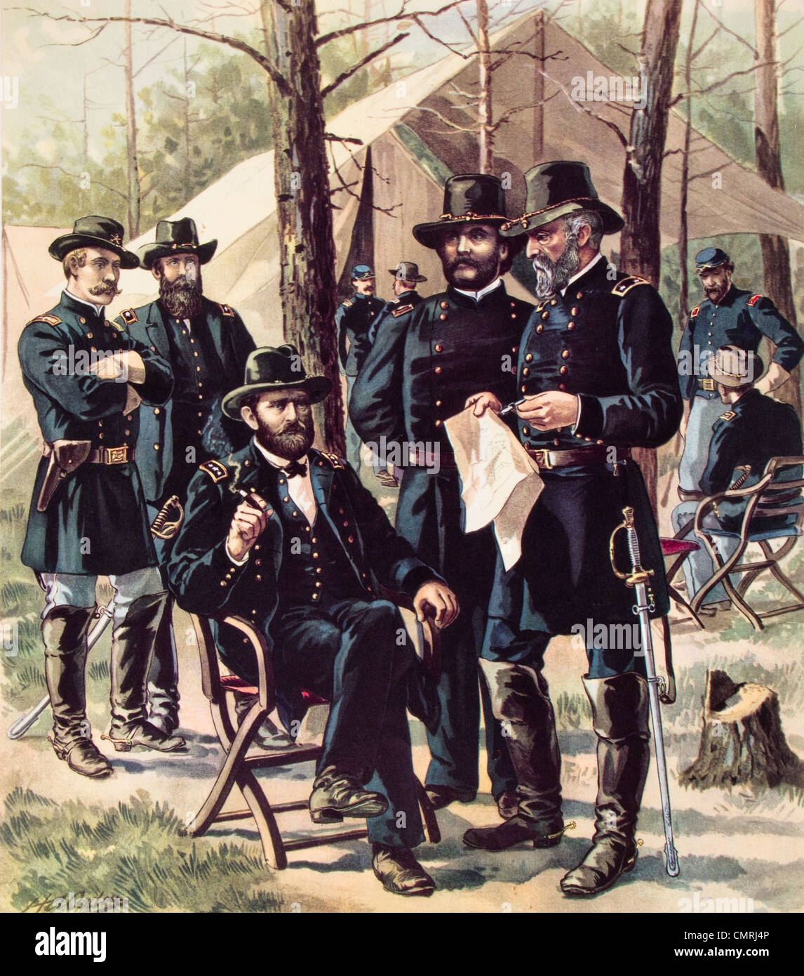 1860s 1864 american civil war general ulysses grant seated in 1860s 1864 american civil war general ulysses grant seated in front of tent with his line and field officers staff publicscrutiny Images